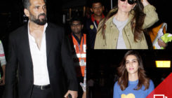 A suited Suniel Shetty steals the show from B-Town beauties, Kareena and Kriti at the airport