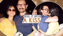 Aamir Khan's wife Kiran Rao welcomes the birthday boy with a kiss and flowers. SEE PICS