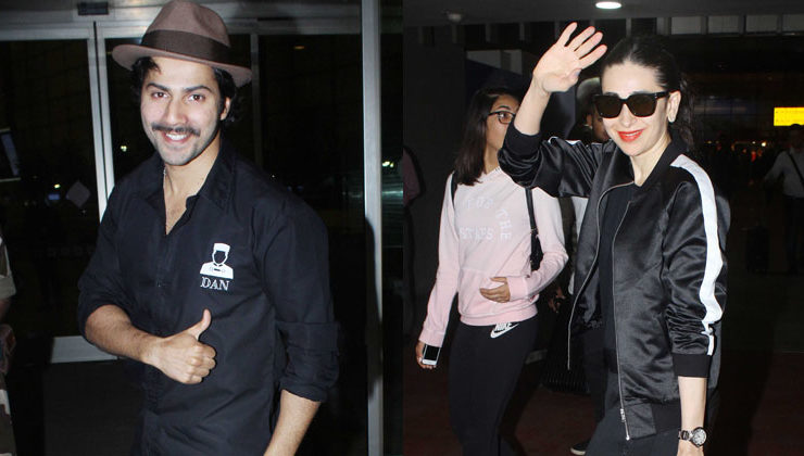Varun Dhawan and Karisma Kapoor show off their HOT black avatar at the airport. View Pics