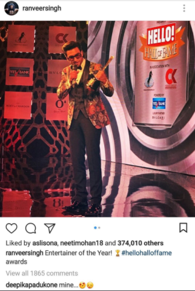 """Why did Deepika Padukone delete the """"MINE"""" comment from Ranveer's insta picture?"""
