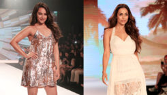 Malaika Arora, Sonakshi Sinha make heads turn as showstoppers for a fashion show. SEE PICS