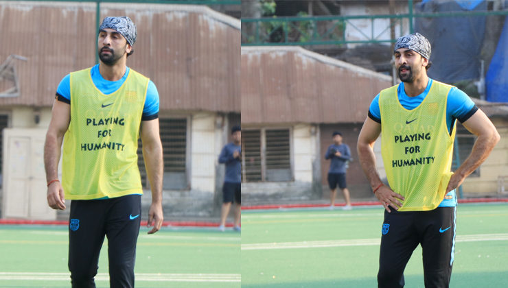 Back in the city, Ranbir Kapoor enjoys playing a football match with his pals. VIEW PICS