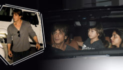 PICS: Shah Rukh Khan takes up the driver's seat as he drives his family back home from the airport