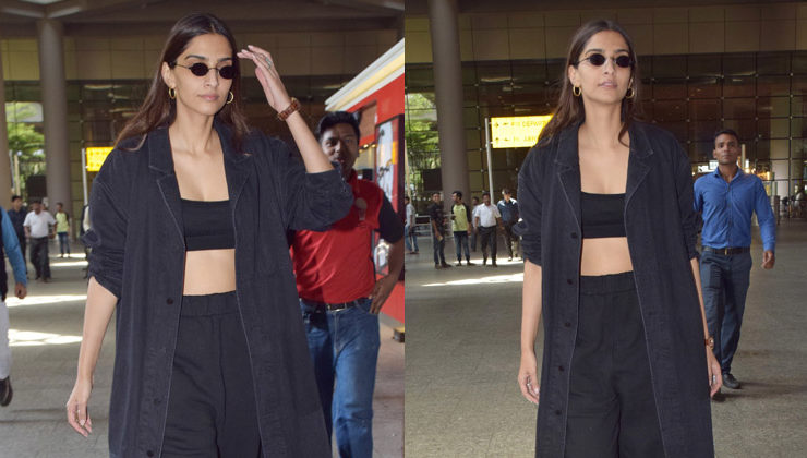 Lady in black, Sonam Kapoor's bare midriff is hogging all the glory at the airport. View Pics!