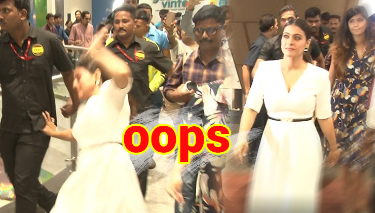 Watch: Kajol's bodyguard comes to her rescue as she falls at a mall
