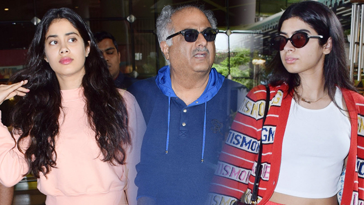 Boney Kapoor, Khushi Kapoor and Janhvi Kapoor SPOTTED at the Mumbai airport