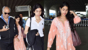 Spotted: Boney Kapoor with daughters Janhvi and Khushi at the airport