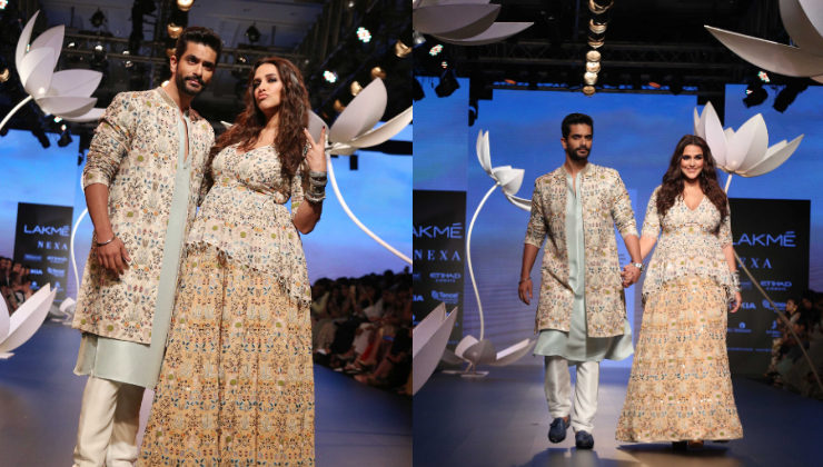 LFW 2018: Neha Dhupia walks the ramp flaunting her baby bump with hubby Angad