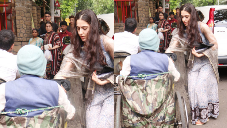 Sara Ali Khan shows her generous side, helps a beggar outside a temple