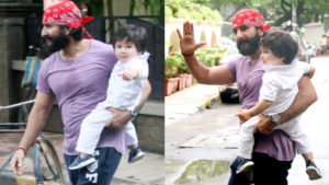 Taimur is a vision in white as he steps out with daddy Saif Ali Khan- view pics