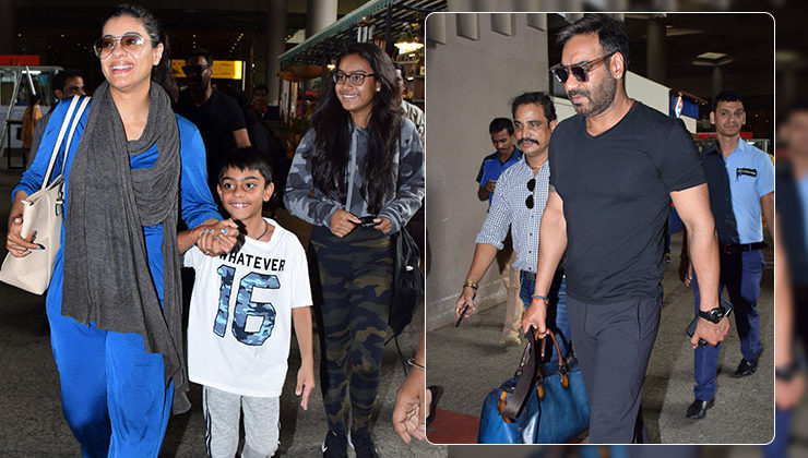 Ajay Devgn, Kajol and kids return from their holiday; snapped at the airport