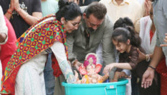Ganpati Visarjan 2018: Sanjay Dutt and Maanayata Dutta celebrate an eco-friendly Ganpati visarjan along with the kids