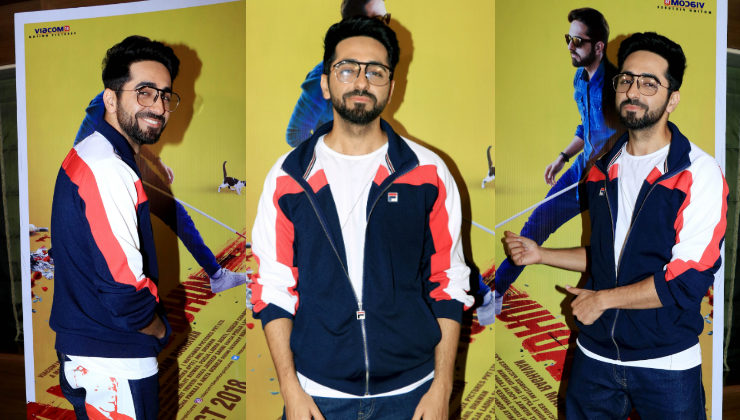 In Pics: Ayushmann Khurrana spotted promoting 'AndhaDhun' in Juhu