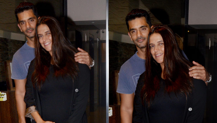 Parents-to-be Neha Dhupia and Angad Bedi pay a visit to Soha and Kunal's residence
