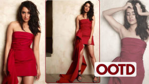 shraddha red dress