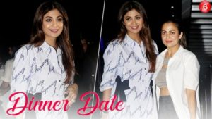 Shilpa Shetty Kundra and Amrita Arora spotted on a dinner outing