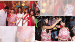 In Pics: Tanushree Dutta celebrates Durga Puja with family