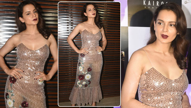 In Pics: Kangana Ranaut dazzles in a golden gown at 'Manikarnika' wrap-up party
