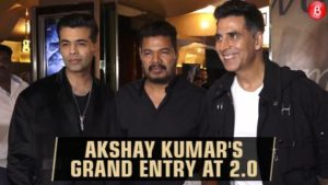 Akshay Kumar makes a grand entry at '2.0' event with director Shankar and Karan Johar