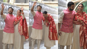 See Pics: Mr & Mrs Bhavnani twin in red and grey as they arrive at Ranveer Singh's residence in Mumbai