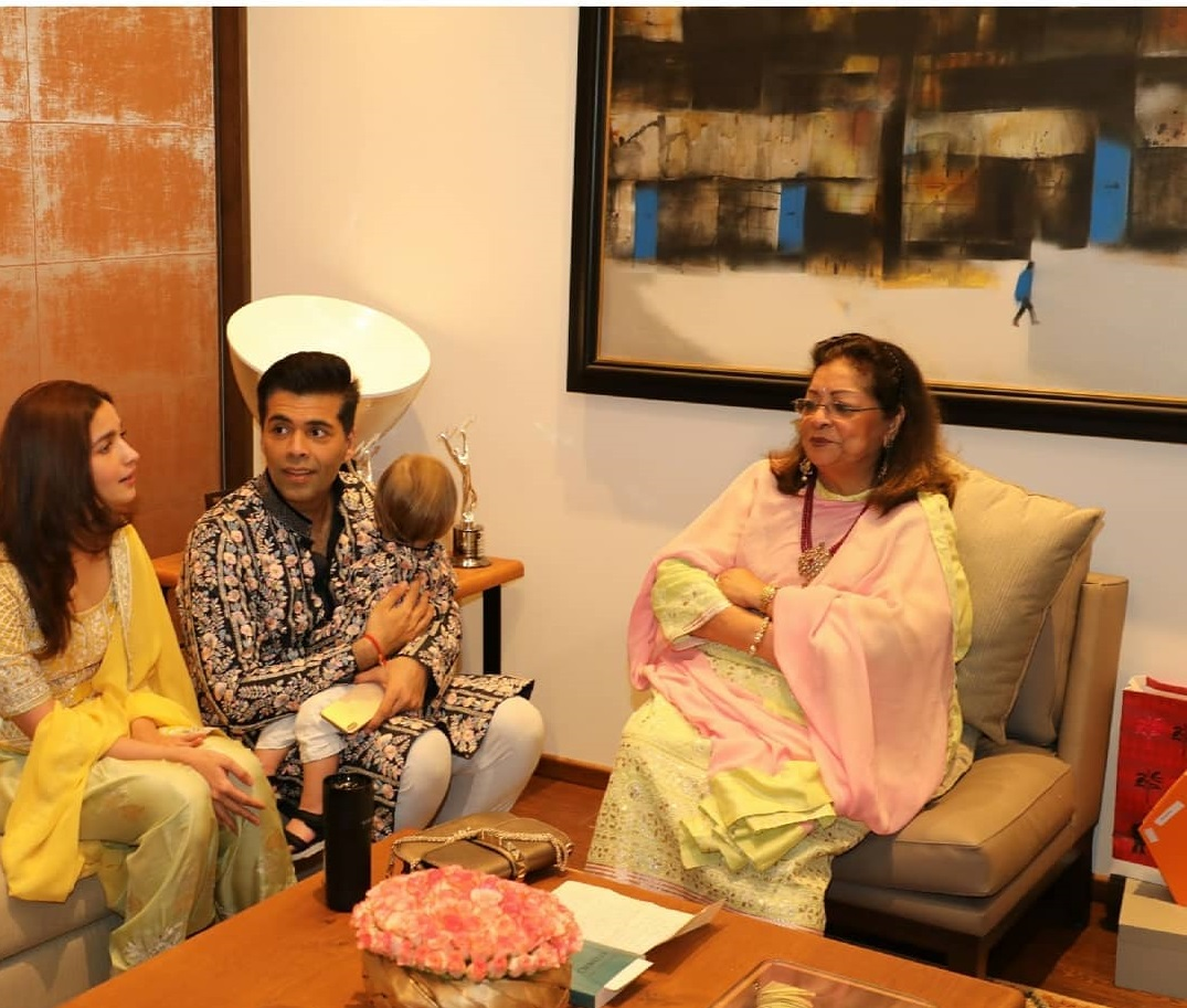 Karan Johar with mom and Alia