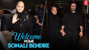 Sonali Bendre is all smiles as she arrives in Mumbai with her husband Goldie Behl