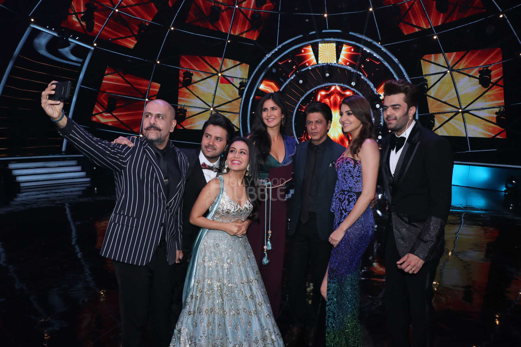 Team 'Zero' with the judges and host of 'Indian Idol'
