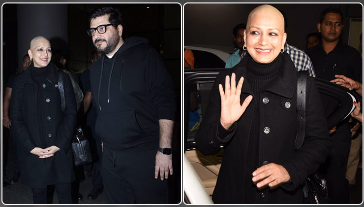 In Pics: Sonali Bendre is all smiles as she arrives in Mumbai with her husband Goldie Behl