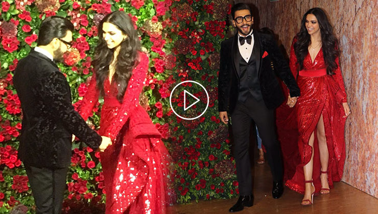 Watch: Deepika and Ranveer make glamorous entry holding each other hand at their Mumbai party