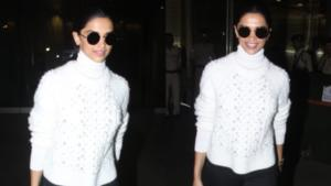 Pics: Deepika Padukone aces the airport look in a monochrome outfit