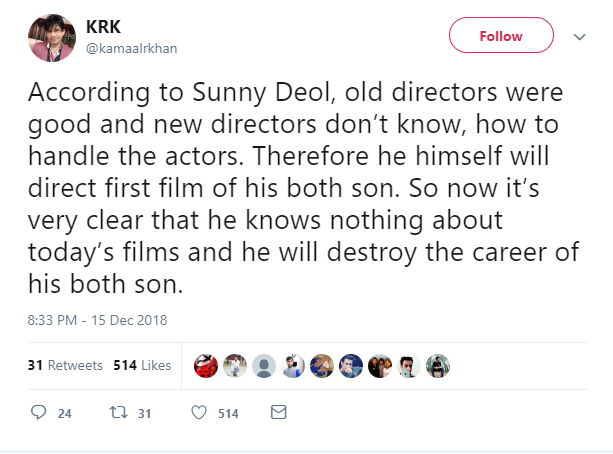 Mocks Sunny Deol and other directors