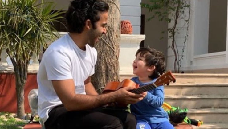 Watch: Taimur playing guitar with mamu Zahan Kapoor is too cute to miss!