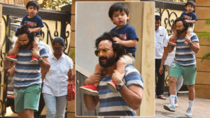 In Pics: Taimur enjoys piggyback ride on dad Saif Ali Khan's shoulders