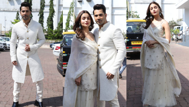 In Pics: Alia Bhatt and Varun Dhawan make a style statement as they twin in white for 'Kalank' promotions