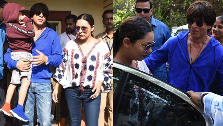 Shah Rukh Khan arrives with son AbRam and wife Gauri to cast his vote - view pics
