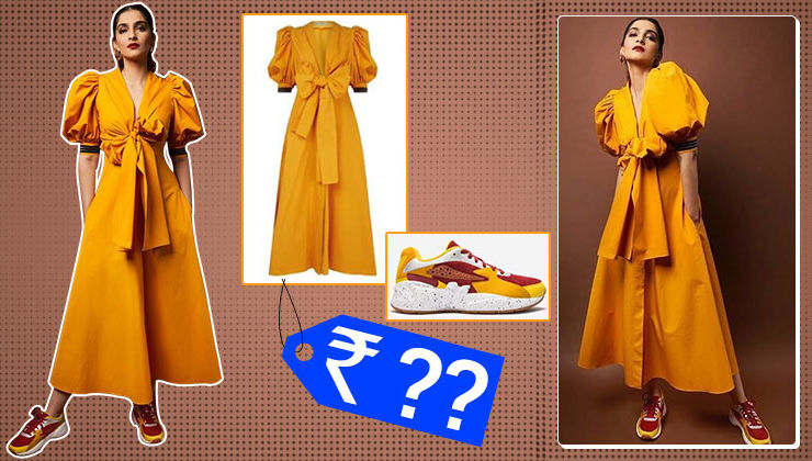 The cost of Sonam Kapoor's mustard Miosotis dress and sneakers will make your jaw drop