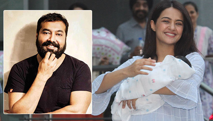Surveen Chawla's newborn daughter Eva poses with her Godfather Anurag Kashyap- view pic