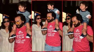 In Pics: Taimur is all smiles as he arrives at the airport with Kareena Kapoor and Saif Ali Khan