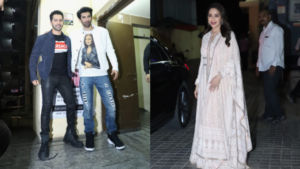 Pics: Varun Dhawan, Aditya Roy Kapur, Madhuri Dixit and others attend the special screening of 'Kalank'