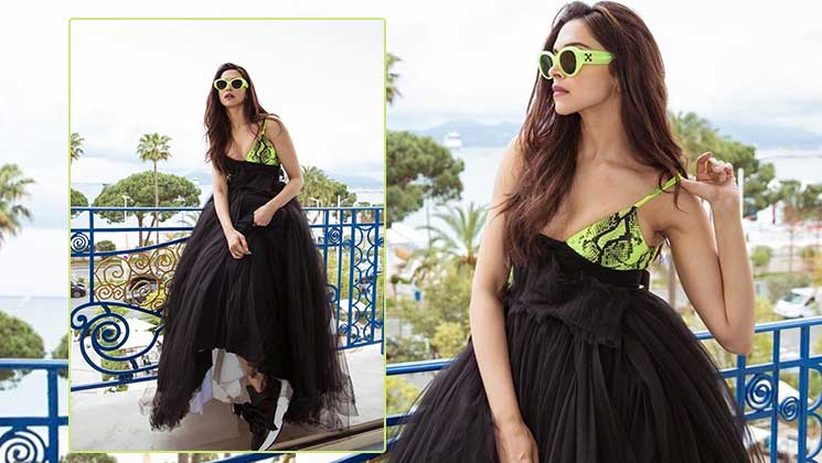 Cannes 2019: Deepika Padukone looks chic in a black gown peppered with fluorescent green | Bollywood Bubble