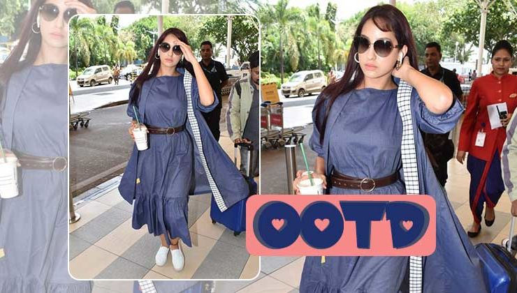 Nora Fatehi rocks the airport look in a monotone outfit
