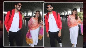 In Pics: Sara Ali Khan and Kartik Aaryan make a stylish splash at the airport