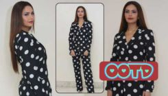 Esha Gupta rocks the Monotone Polka Dots pantsuit effortlessly