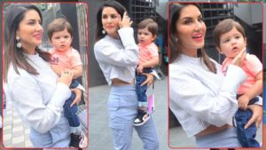 Sunny Leone makes a splash around town with her cutesy little boy - view pics