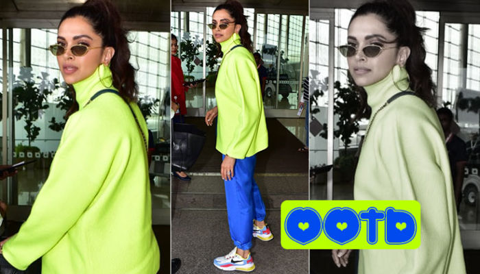 Deepika Padukone rocks the street style fashion with her neon t-shirt and blue track pants