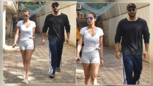 Lovebirds Malaika Arora and Arjun Kapoor look oh-so-lovely walking out of a clinic in Mumbai
