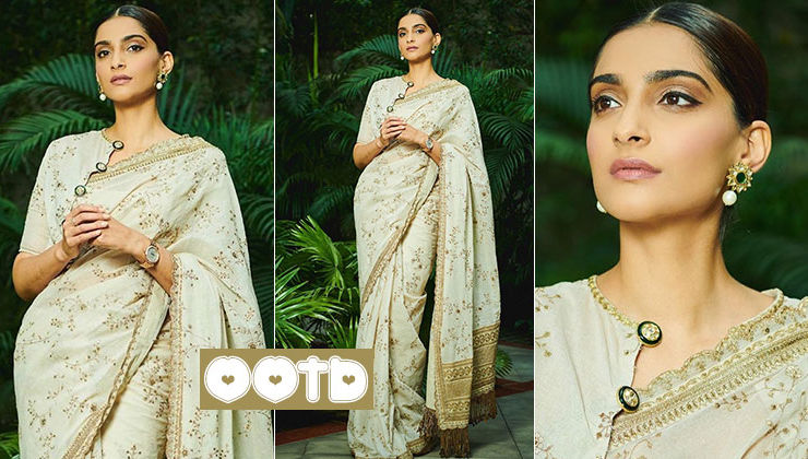 Sonam Kapoor's ivory and gold saree with a statement blouse is perfect for the festive season