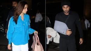 Alia Bhatt and an injured Ranbir Kapoor snapped at the airport - view pictures