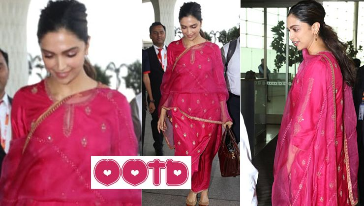 Dimpled beauty Deepika Padukone looks ravishing in an electric pink salwar suit