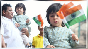 In Pics: Taimur Ali Khan unfurls tricolour with enthusiasm on Republic Day